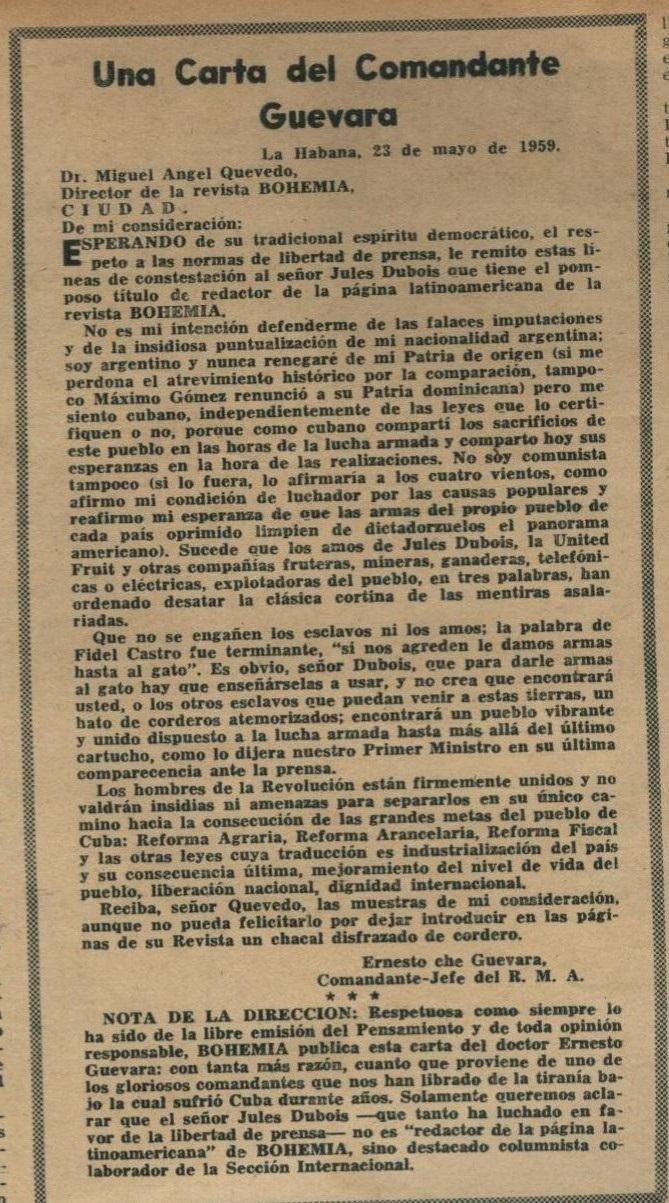 Carta de Ernesto Che Guevara a la Revista Bohemia. Por Félix José Hernández.      cubademocraciayvida.org                                                                                        web/folder.asp?folderID=136
