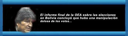 El informe final de la OEA sobre las elecciones en Bolivia concluyó que hubo una manipulación dolosa de los votos. El organismo determinó quese alteraron las actas electorales... cubademocraciayvida.org web/folder.asp?folderID=136