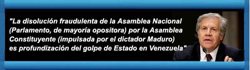 """VENEZUELA: Luis Almagro denunció golpe de Estado en Venezuela y convocó una sesión extraordinaria de la OEA y advirtió que """"la Asamblea fue elegida por el pueblo soberano por sufragio directo"""" y, por eso, """"su disolución es ilegítima e inconstitucional"""". cubademocraciayvida.org web/folder.asp?folderID=136"""