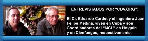 """CUBA VIDEO: El Dr. Eduardo Cardet, coordinador Nacional y responsable de la Comisión en Cuba del """"MCL"""" fundado por Oswaldo Payá y Juan F Medina Díaz, Coordinador del MCL en Cienfuegos, entrevistados por los editores de """"CDV.ORG"""" Guillermo Milán y Eva Belfrage. cubademocraciayvida.org web/folder.asp?folderID=136"""